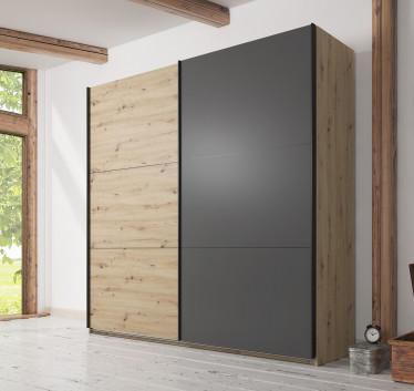 Kledingkast Felice - Eiken - Grijs - 230 cm - zonder spiegel