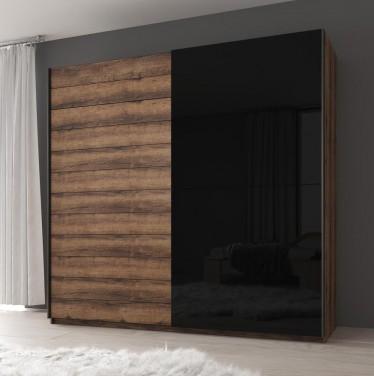 Kledingkast Gavi - Zwart - Eiken - 220 cm