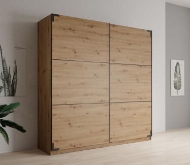 Kledingkast Lapis - Eiken - 217 cm - zonder spiegel