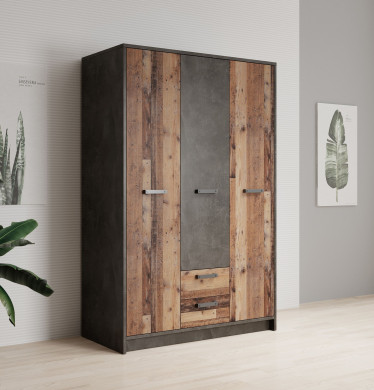 Kledingkast Norton - Old wood - Grijs - 128 cm