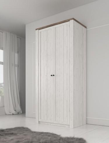 Kledingkast Parello - Wit - Eiken - 90 cm