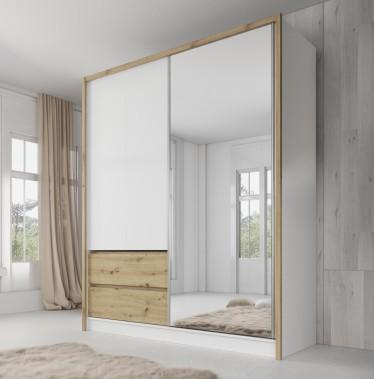 Kledingkast Sento - Wit - Eiken - 180 cm