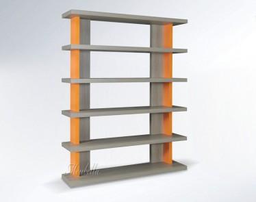 Boekenkast Mango - Grijs Eiken - Oranje