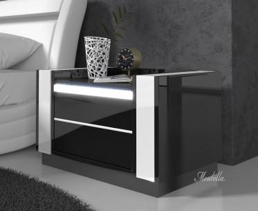 Nachtkastje Luna - LED - Zwart - Wit - Set van 2