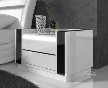 Nachtkastje Luna - LED - Wit - Zwart - Set van 2