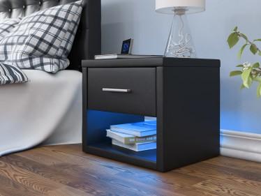 Nachtkastje Albany - LED - Zwart - Set van 2