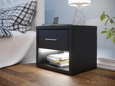 Nachtkastje Albany - LED - Zwart