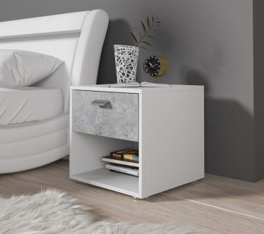 Nachtkastje Bello - Wit - Beton - 45 cm