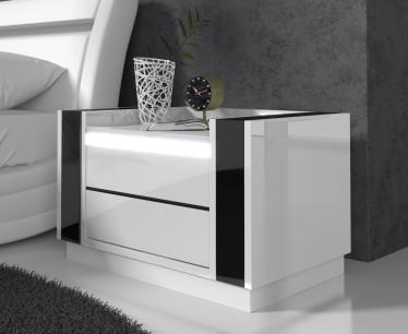 Nachtkastje Luna - LED - Wit - Zwart