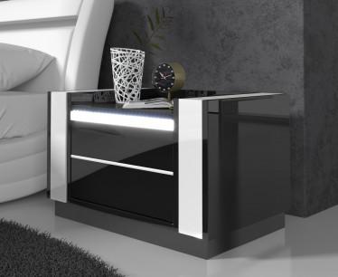 Nachtkastje Luna - LED - Zwart - Wit