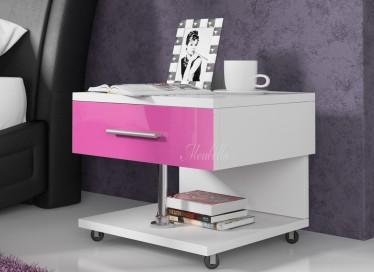 Nachtkastje Queen - Wit - Roze - Set van 2
