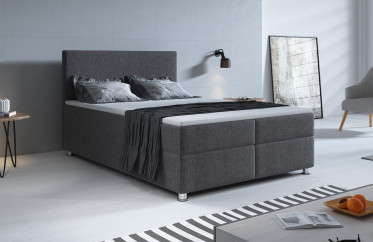 Boxspring Paolo - Grijs - 140x200 cm - Compleet