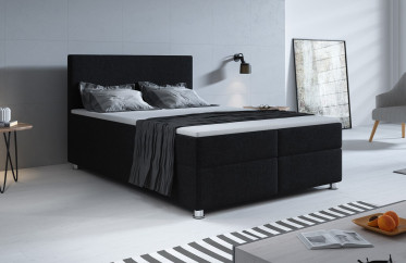 Boxspring Paolo - Zwart - 140x200 cm - Compleet