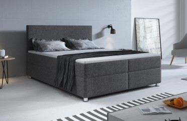 Boxspring Paolo - Grijs - 160x200 cm - Compleet