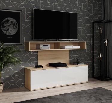 TV-Meubel Ridon - Eiken - Wit - 140 cm - ACTIE