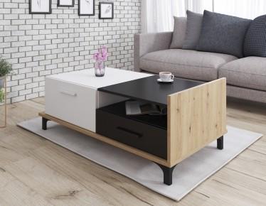 Salontafel Bust - Eiken - Wit - Zwart - 125 cm