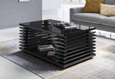 Salontafel Viron - Hoogglans zwart - 100 cm