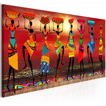 Schilderij African Women Dancing - 120x40 cm