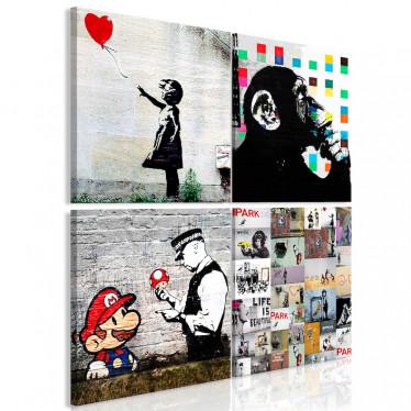 Schilderij Banksy Collage - 40x40 cm
