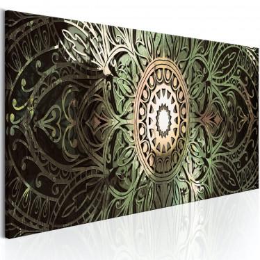 Schilderij Emerald Mandala - 120x40 cm