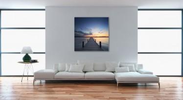 Schilderij Houten pier 100x100 - ACTIE