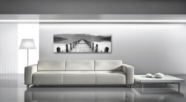 Schilderij Pier black/white 45x140
