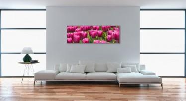 Schilderij Roze tulpen 45x140