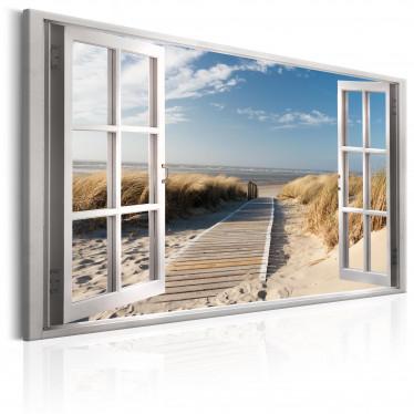 Schilderij Window: View of the Beach - 90x60 cm