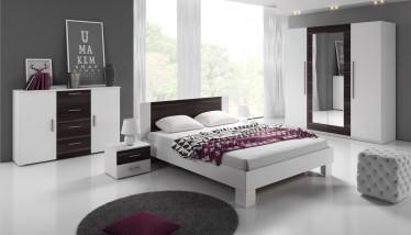 Slaapkamer Victor 160 - Wit - Zwart eiken - Groot