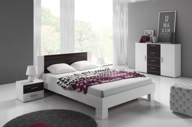Slaapkamer Victor 160 - Wit - Zwart eiken - Klein