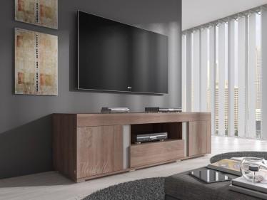 Landelijke lve tv meubel kast louvre wit met teak panelen