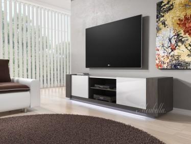 TV-Meubel Arulo met LED - Grijs eiken - Wit - 160 cm