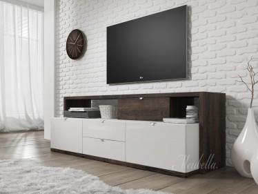 TV-Meubel Ashland - Wit - Donker eiken - 161 cm