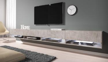 TV-Meubel Asino LED - Betonlook - 280 cm