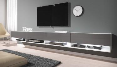 TV-Meubel Asino LED - Grijs - Wit - 280 cm