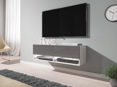 TV-Meubel Asino LED - Grijs - Wit - 100 cm - ACTIE