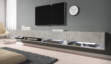 TV-Meubel Asino LED - Betonlook - 280 cm - ACTIE