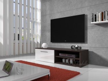 TV-meubel Bash - Wit - Wenge - 120 cm