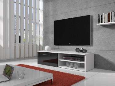 TV-meubel Bash - Zwart - Wit - 120 cm - ACTIE