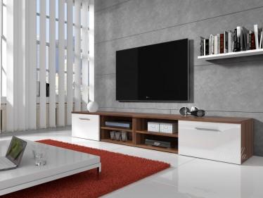 TV-meubel Bash II - Wit - Eiken - 240 cm