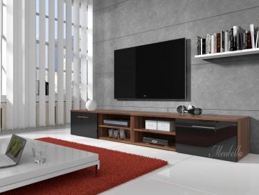 TV-meubel Bash II - Zwart - Eiken - 240 cm
