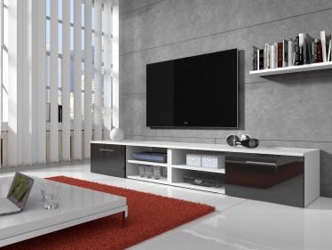 TV-meubel Bash II - Zwart - Wit - 240 cm - ACTIE