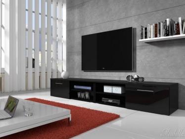TV-meubel Bash II - Zwart - 240 cm