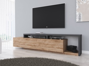 TV-Meubel Bello - Eiken - Antraciet - 219 cm