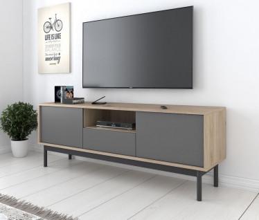 TV-Meubel Bryton - Eiken - Grijs - 154 cm