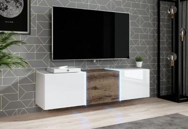 TV-Meubel Donn - Wit - Donker eiken - 138 cm - Hangend of staand - ACTIE