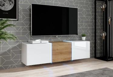 TV-Meubel Donn - Wit - Eiken - 138 cm - Hangend of staand - ACTIE