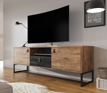 TV-Meubel Dust - Eiken - Zwart - 153 cm