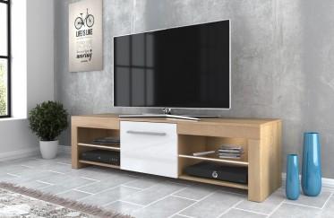 TV-Meubel Fandy - Licht eiken - Wit - 160 cm - ACTIE