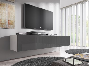 TV-Meubel Flame - Grijs - Wit - 160 cm